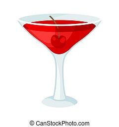 boisson, bokeh., illustration, arrière-plan., vecteur, blanc rouge