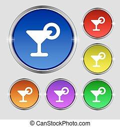 boisson, buttons., citron, cocktail, signe., rond, clair, vecteur, coloré, symbole, icône
