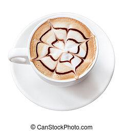 boisson café, isolé, moka, coupure, fond, sentier, blanc
