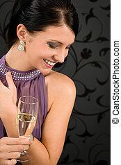 boisson, champagne, robe partie, femme, verre
