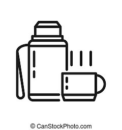 boisson chaude, thermos, illustration, conception