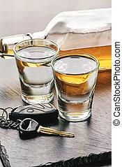 boisson, clés, voiture, alcoolique