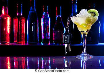boisson, cocktail, pas, clés, voiture, après, -, conduire, verre