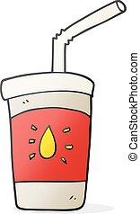 boisson, dessin animé, soude