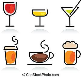 boisson, ensemble, coloré, icône