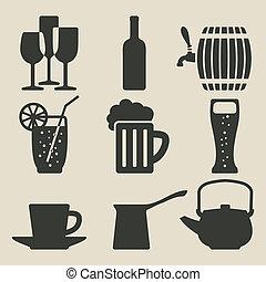 boisson, ensemble, icônes
