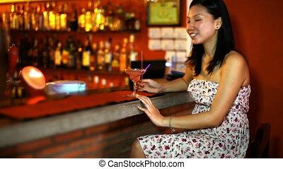 boisson, femme, asiatique, cocktail, jeune