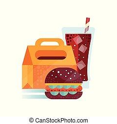 boisson, gosses, étudiants, hamburger, sain, soude, illustration, enfants, déjeuner, vecteur, fond nourriture, temps, sac blanc