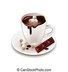 boisson, isolé, chocolat, chaud, vecteur, blanc