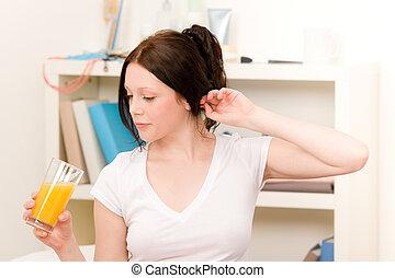 boisson, jeune, matin, jus, étudiant, girl