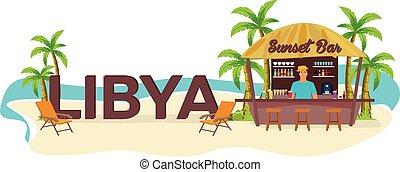 boisson, libya., travel., tropical., chaise salon, paume, été