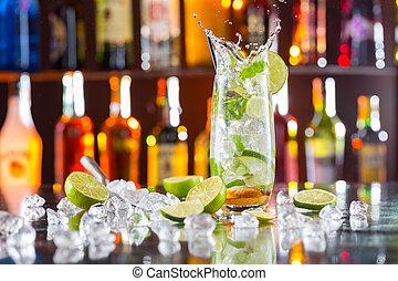 boisson, mojito, compteur, barre, cocktail