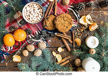 boisson, noël, fond, nourriture, autre, symboles, biscuits, traditionnel