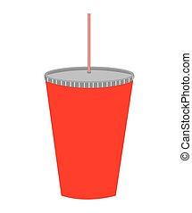 boisson, paille, isolé, verre, icône