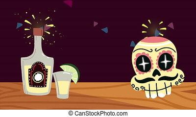 boisson, peint, mexique, tequila, célébration, animation, ...