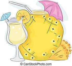 boisson, planche, ananas