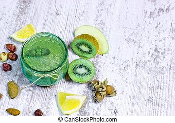 boisson saine, -, vert, smoothie