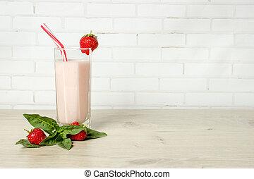 boisson, smoothies, été, fraise, à, mint.