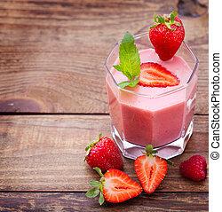 boisson, smoothies, été, fraise, mûres, framboise, sur, bois, table.