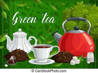 boisson, tasse, thé, chaud, herbier, feuilles, vert