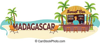 boisson, travel., tropical., chaise salon, paume, madagascar., été