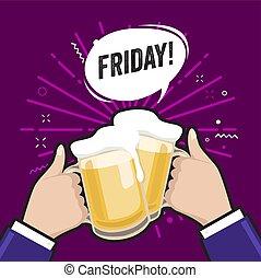 boisson, vendredi, tenue, foam., alcoolique, lumière, concept., hommes, deux, lunettes, bière, mugs., amis, tintement, grillage, réunion, ou, mousse, frais
