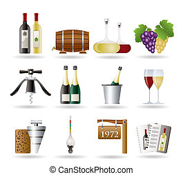 boisson, vin, icônes