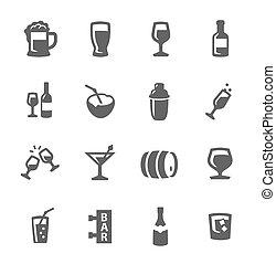 boissons, alcoolique, icônes