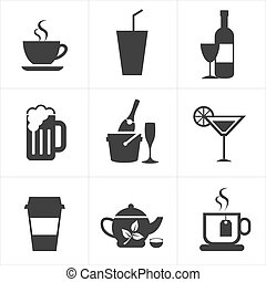boissons, boissons, ensemble, icône
