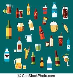boissons, cocktails, icônes, boissons, plat