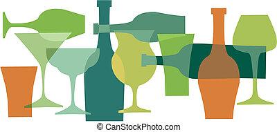 boissons, colors-1, vert, bottels, lunettes