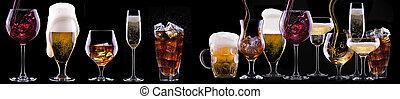 boissons, ensemble, noir, alcool, isolé