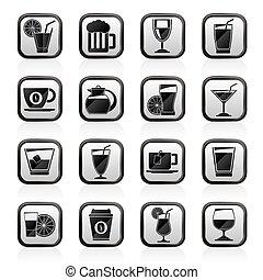 boissons, icônes, boissons