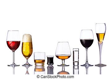 boissons, lunettes, alcoolique