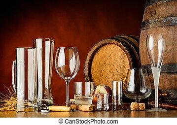 boissons, lunettes, vide, alcoolique