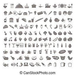 boissons, nourriture, icons.