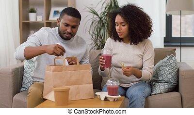 boissons, nourriture, maison, couple, paille, plat à...