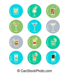 boissons, vecteur, ensemble, coloré, icônes