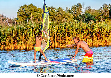 bojana, ada, aprendizagem, menina, como, pequeno, montenegro, windsurf