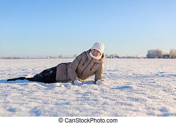 bojiště, děvče, mládě, ležící, sněžný