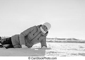 bojiště, děvče, sněžný