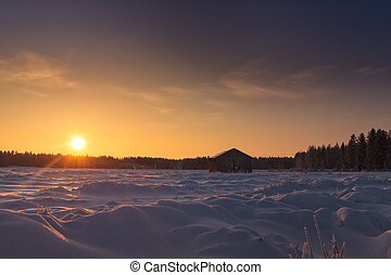 bojiště, sluneční světlo, sněžný