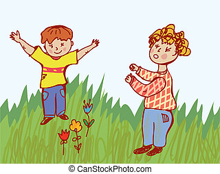 bojowy, -, dzieci, ilustracja, zachowanie
