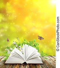 bok, av, natur