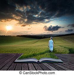 bok, begrepp, landskap, ung pojke, vandrande, genom, skörd,...