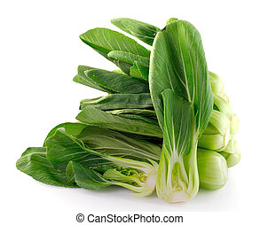 bok choy, (chinese, cabbage), aislado, blanco, plano de fondo