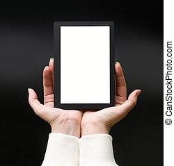 bok, elektronisk, kvinna lämnar