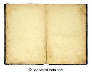bok, gammal, isolerat, tom, öppna