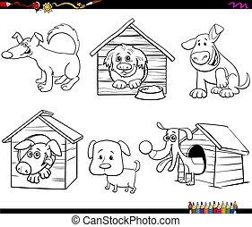 bok, hundkapplöpning, rolig, tecken, kolorit, tecknad film, sida