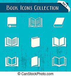bok, ikonen, retro, kollektion